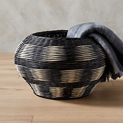 ikat grey and white basket