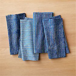 set of 4 indigo stripe napkins