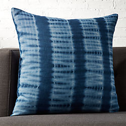 "23"" Indigo Blue Tie Dye Pillow with Feather-Down Insert"
