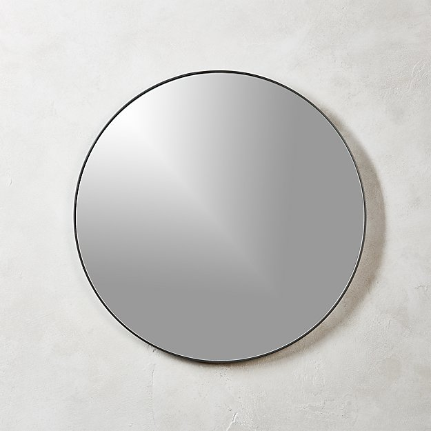 Infinity black round wall mirror 24 cb2 for Round black wall mirror