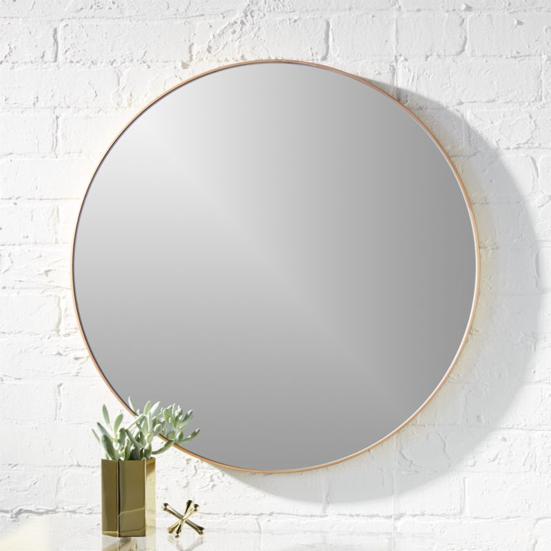 Infinity 24 round brass wall mirror in mirrors reviews for Circle mirror