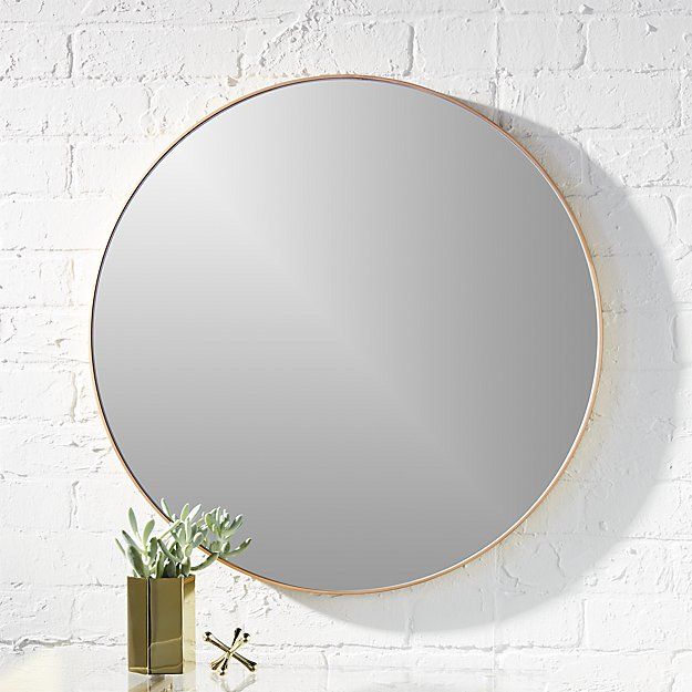 Infinity 24 Quot Round Brass Wall Mirror Cb2
