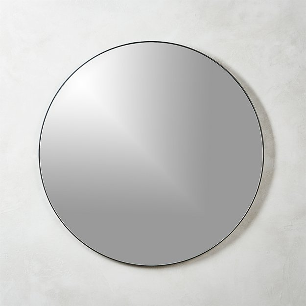 Infinity black round wall mirror 36 cb2 for Round black wall mirror