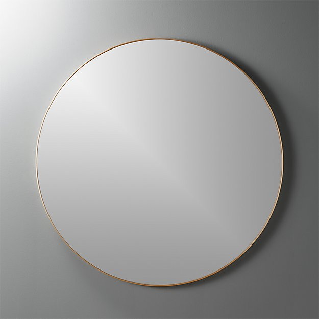"infinity 36"" round brass wall mirror"