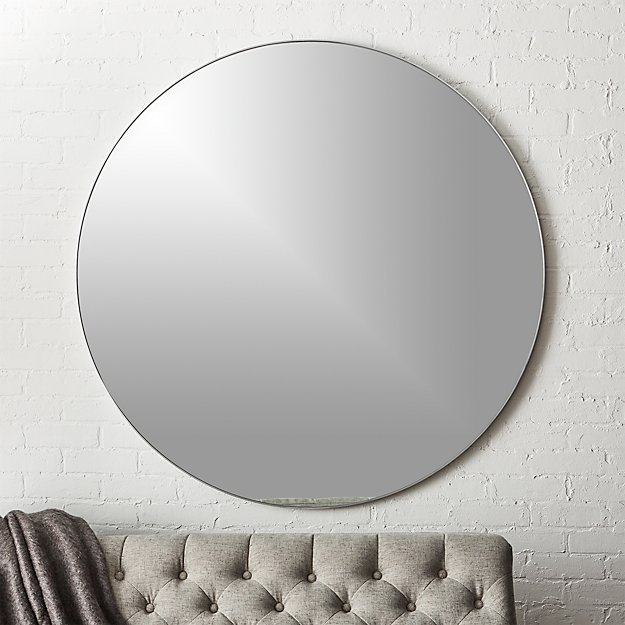 Infinity silver round wall mirror 48 cb2 for Round silver wall mirror