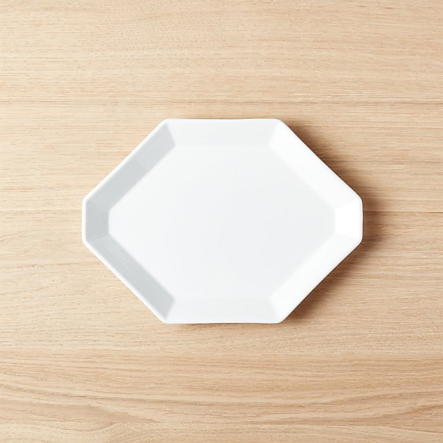 "Intermix White Octagon Plate 9.75""x7"""
