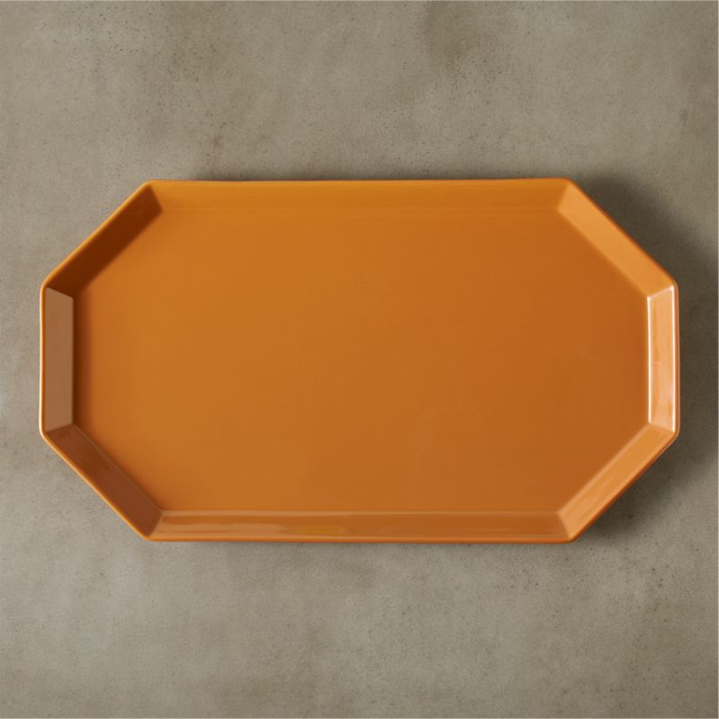 "<span class=""copyHeader"">modern harvest.</span> Geometric octagon serves up a gem-like effect in handmade stoneware and modern holiday colors. Raised rim adds 3D depth to small bites and sweets, cheese and charcuterie. Made to mix and layer a multifaceted fresh palette of shape, scale and color.<br /><br /><NEWTAG/><ul><li>Handmade</li><li>Stoneware</li><li>Hi-gloss glaze</li><li>Dishwasher- and microwave-safe; oven-safe at 350 degrees for 2 hours</li></ul>"