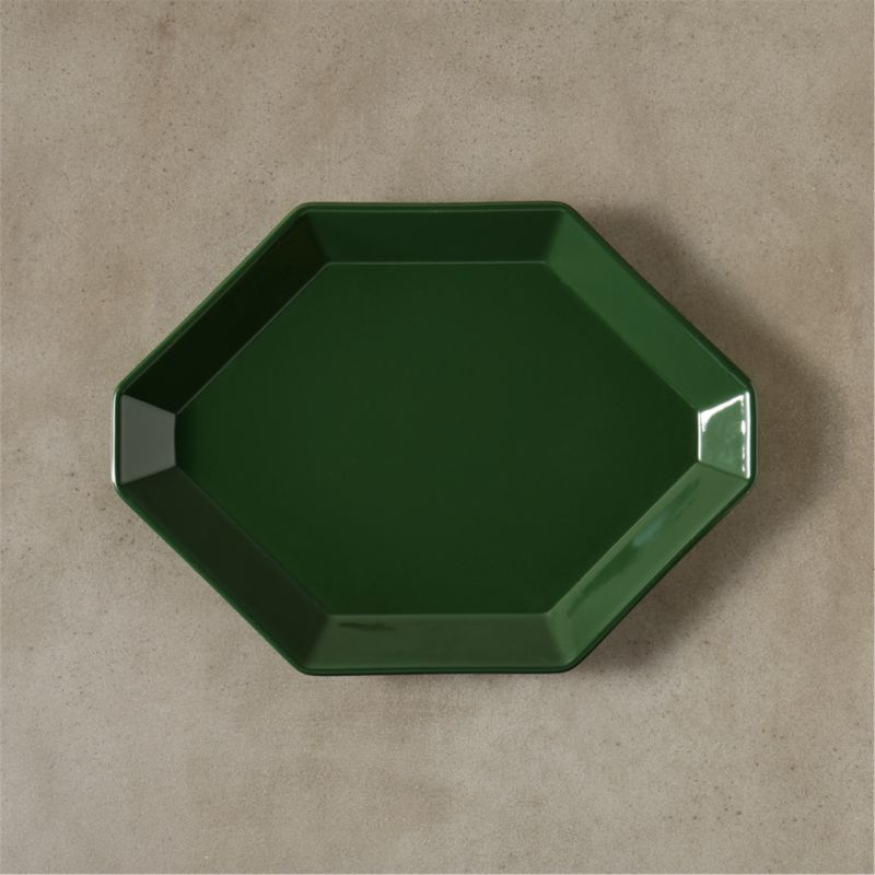 """<span class=""""copyHeader"""">modern harvest.</span> Geometric hexagon serves up a gem-like effect in handmade stoneware and modern holiday colors. Raised rim adds 3D depth to small bites and sweets, cheese and charcuterie. Made to mix and layer a multifaceted fresh palette of shape, scale and color.<br /><br /><NEWTAG/><ul><li>Handmade</li><li>Stoneware</li><li>Hi-gloss glaze</li><li>Dishwasher- and microwave-safe; oven-safe at 350 degrees for 2 hours</li></ul>"""