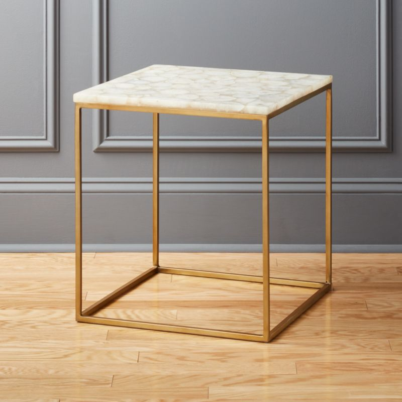 Iris White Agate Side Table