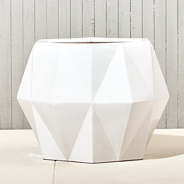 isla large white geometric planter
