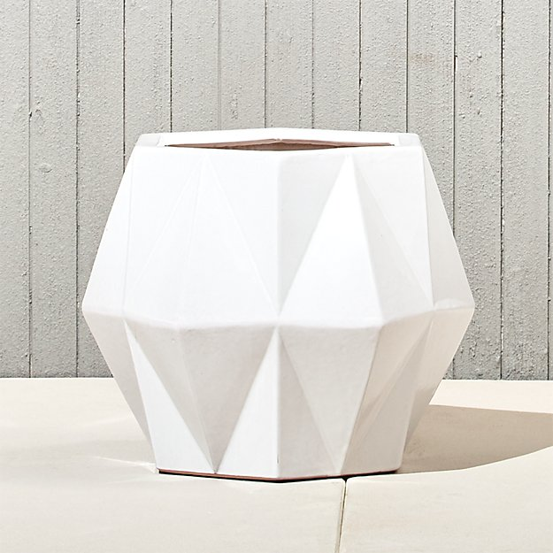 isla small white geometric planter