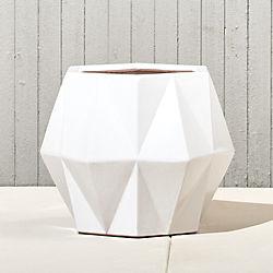 isla small white geometric planter