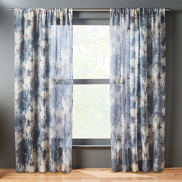 issimo blue curtain panel | CB2