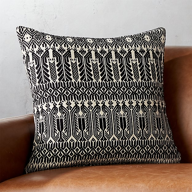 "18"" Izel Black and White Fair Isle Pillow 