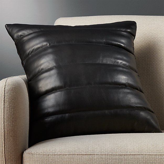 "18"" izzy black leather pillow"