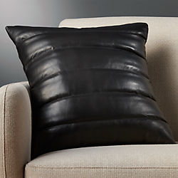 "18"" izzy black leather pillow with down-alternative insert"