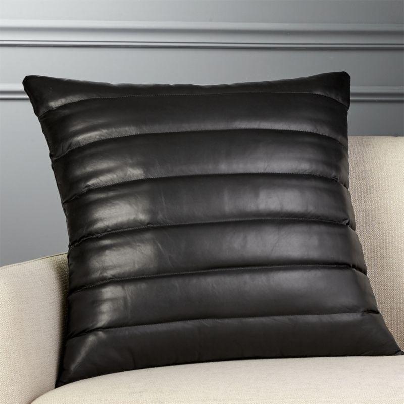 23 Quot Izzy Black Leather Pillow Cb2