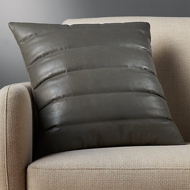 "18"" izzy grey leather pillow"