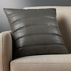 "18"" izzy grey leather pillow with down-alternative insert"