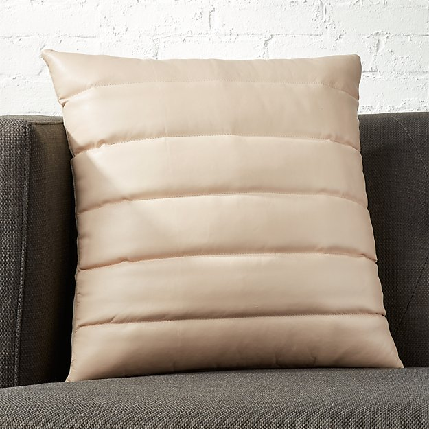 "18"" Izzy Ivory Leather Pillow with Feather-Down Insert"