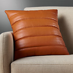 "18"" izzy saddle leather  pillow with down-alternative insert"