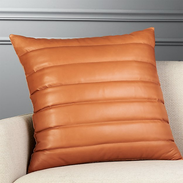 "23"" Izzy Saddle Brown Leather Pillow with Feather-Down Insert"