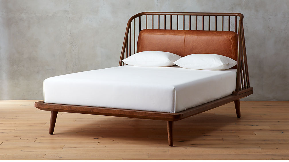 jarvis brown leather bed | CB2