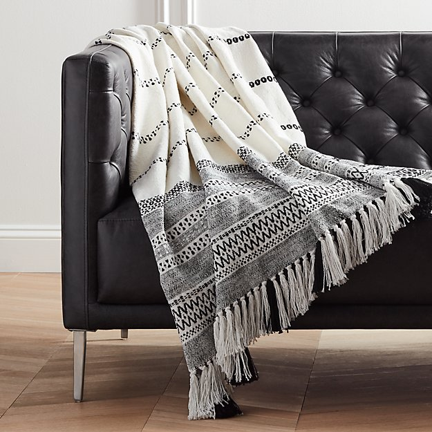 jema black and white throw with tassels in throws reviews cb2. Black Bedroom Furniture Sets. Home Design Ideas