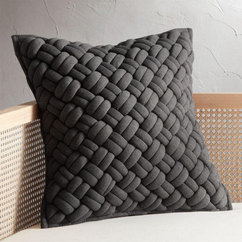 20 Quot Jersey Dark Grey Interknit Pillow Cb2