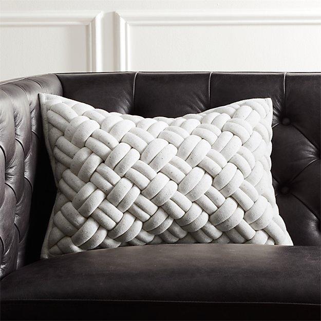 18 Quot X12 Quot Jersey Ivory Interknit Pillow Cb2