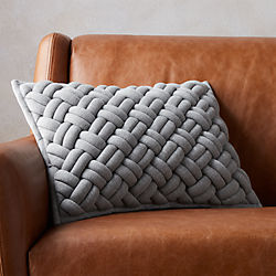 "18""x12"" jersey interknit grey pillow"