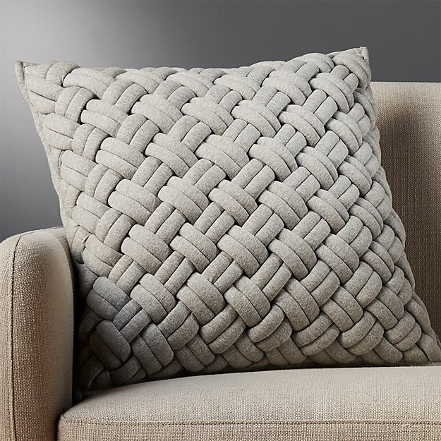 "20"" jersey interknit grey pillow with down-alternative insert"