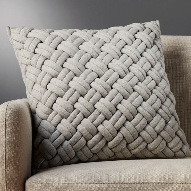 "20"" jersey interknit grey pillow with feather-down insert"