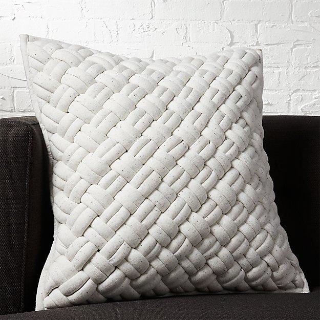 "20"" jersey interknit ivory pillow with down-alternative insert"