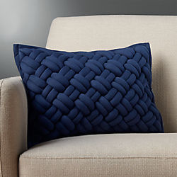 "18""x12"" jersey interknit navy pillow"