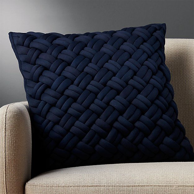 "20"" jersey interknit navy pillow"