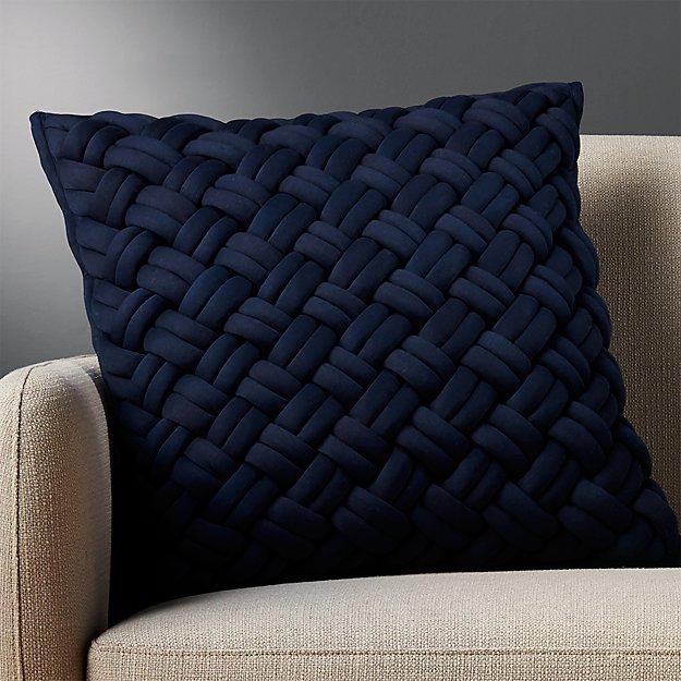 20 Quot Navy Jersey Knit Pillow Cb2