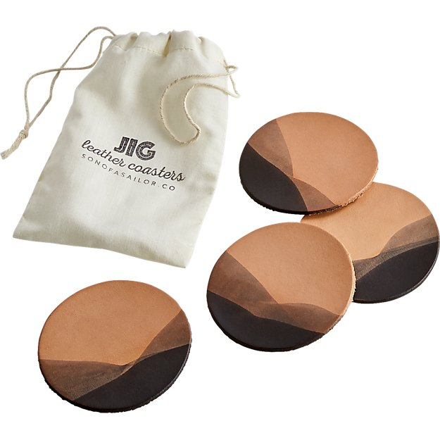 set of 4 jig charcoal dipped leather coasters