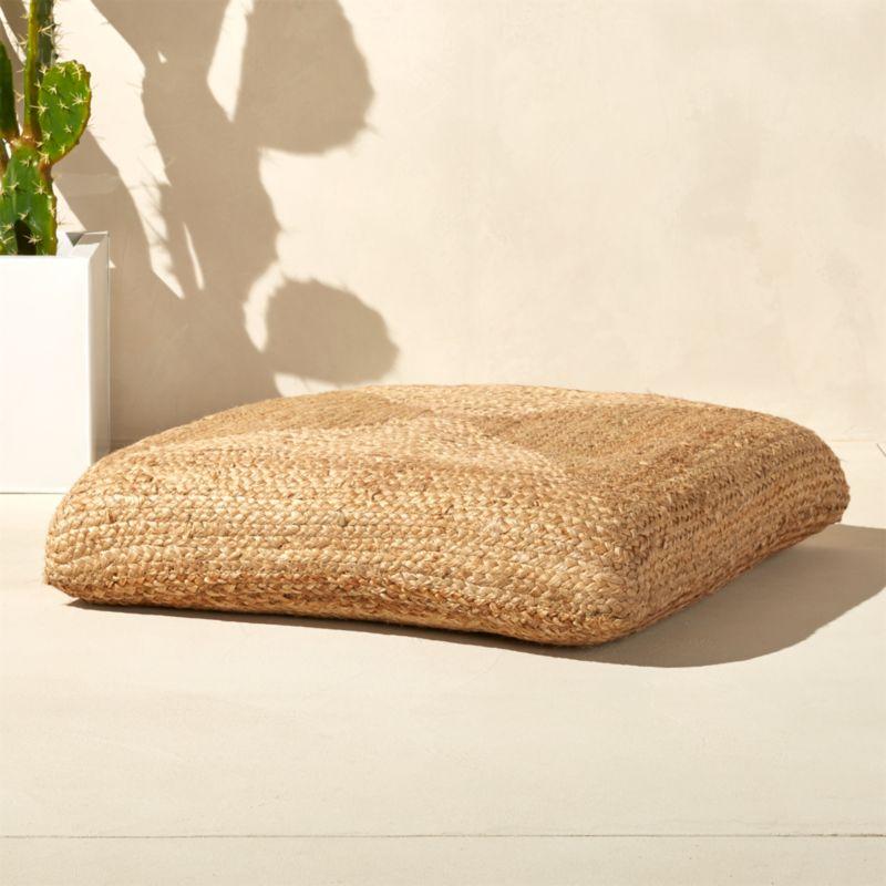 braided jute floor cushion in poufs + Reviews CB2
