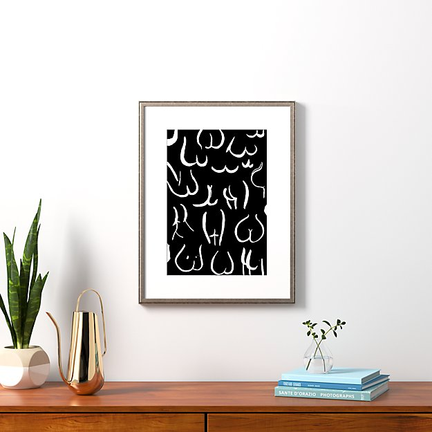 """bums white on black with pewter frame 20.5""""x26.5"""""""