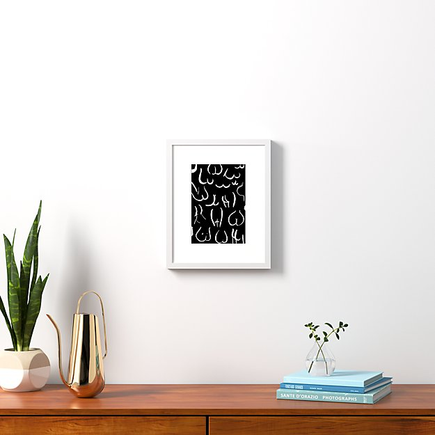 """bums white on black with white frame 13.5""""x16.75"""""""