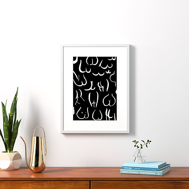 """bums white on black with white frame 20.5""""x26.5"""""""