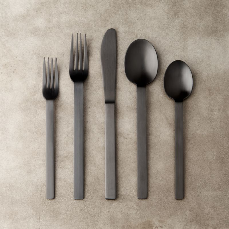 20 Piece Kat Matte Black Flatware Set Cb2