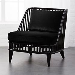 Kaya Black Rattan Chair With Velvet Cushions