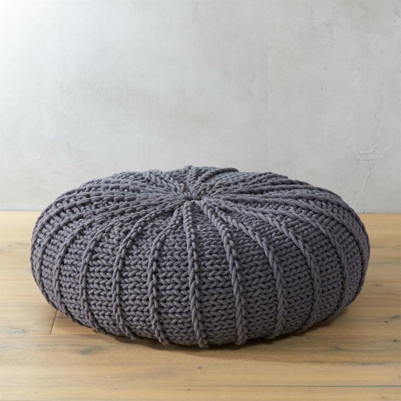 Grey Oversized Pouf Cb2