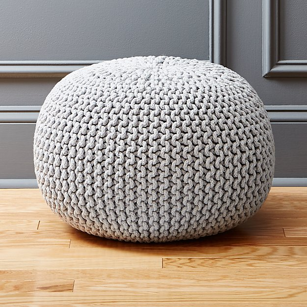 knitted silver pouf cb2. Black Bedroom Furniture Sets. Home Design Ideas