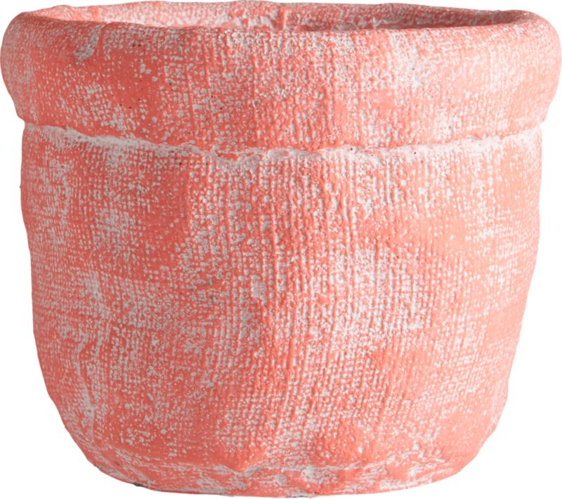 """<span class=""""copyHeader"""">basket case.</span> Handcrafted cement vase forms an optical illusion where crinkled cement looks soft as a burlap sack. Matte hot pink exposes patches of white, playing up natural texture with variegated tone.<br /><br /><NEWTAG/><ul><li>Handcrafted</li><li>Cement</li><li>Hand-brushed matte glaze</li><li>Wipe clean with clean damp cloth</li></ul>"""