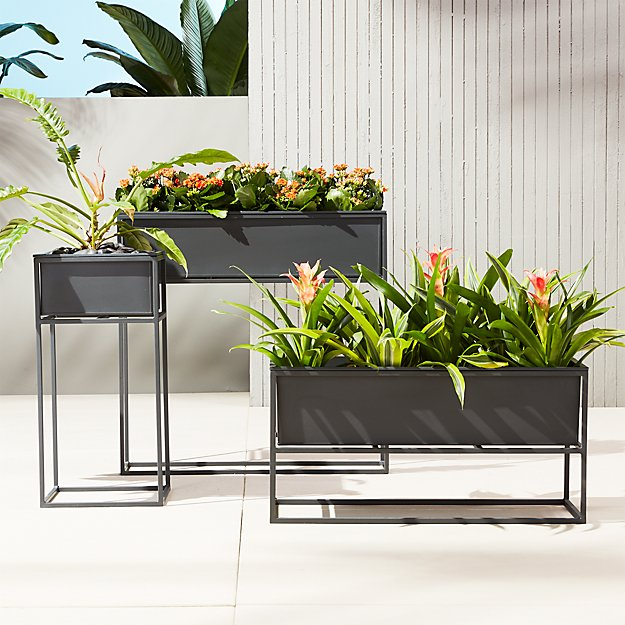 kronos planters cb2. Black Bedroom Furniture Sets. Home Design Ideas