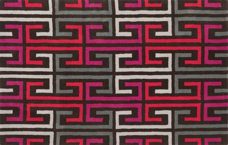 labyrinthe pink-orange rug 5'x8'