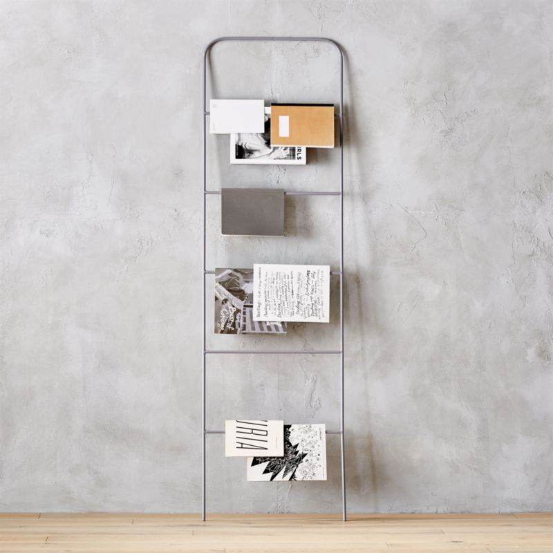 ladder grey magazine rack - Wall Magazine Rack